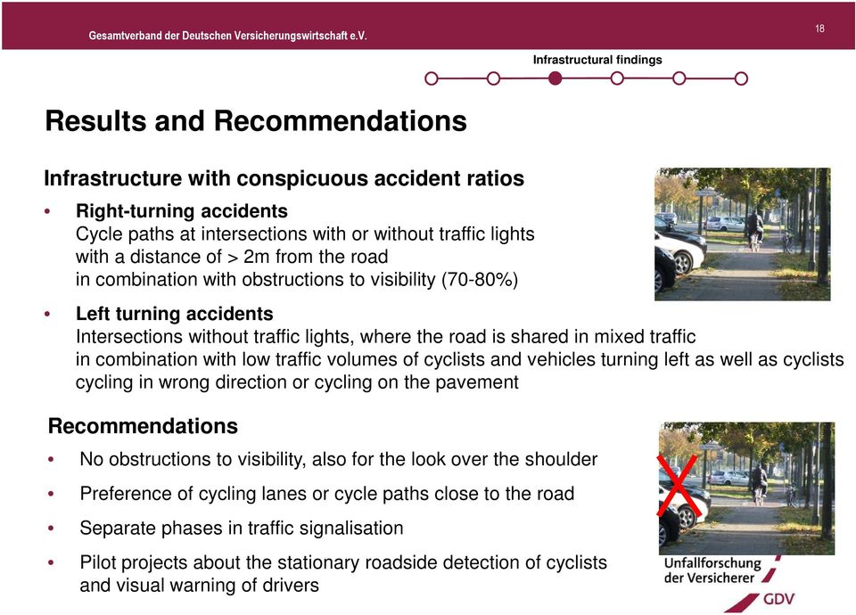 combination with low traffic volumes of cyclists and vehicles turning left as well as cyclists cycling in wrong direction or cycling on the pavement Recommendations No obstructions to visibility,