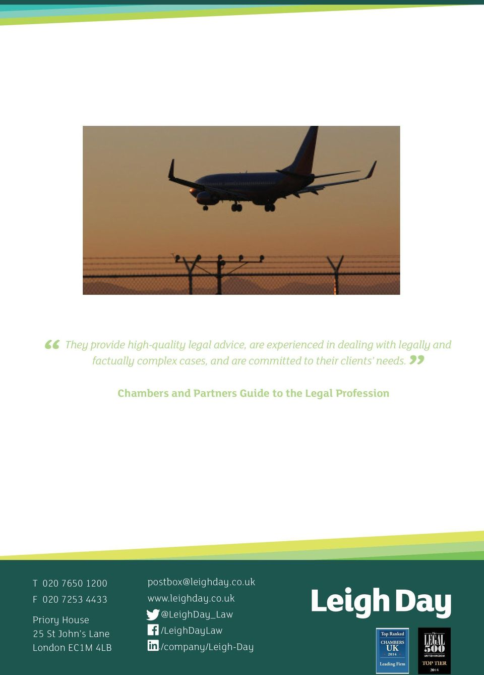 Chambers and Partners Guide to the Legal Profession T 020 7650 1200 F 020 7253 4433 Priory