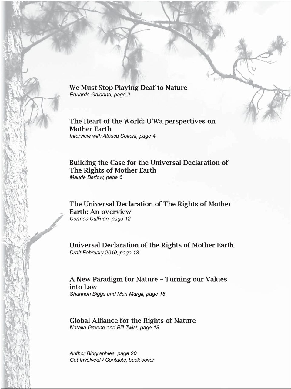 Cullinan, page 12 Universal Declaration of the Rights of Mother Earth Draft February 2010, page 13 A New Paradigm for Nature Turning our Values into Law Shannon Biggs