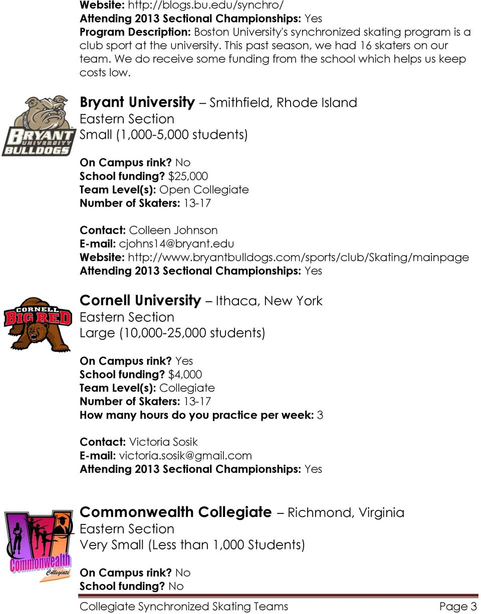 $25,000 Contact: Colleen Johnson E-mail: cjohns14@bryant.edu Website: http://www.bryantbulldogs.com/sports/club/skating/mainpage Cornell University Ithaca, New York School funding?