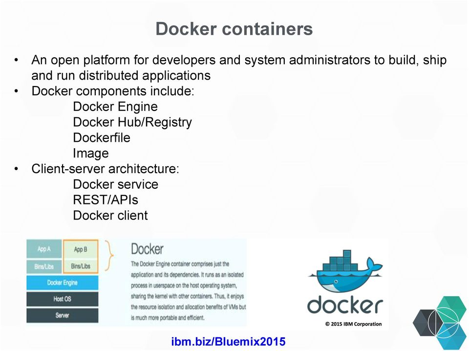 Docker components include: Docker Engine Docker Hub/Registry