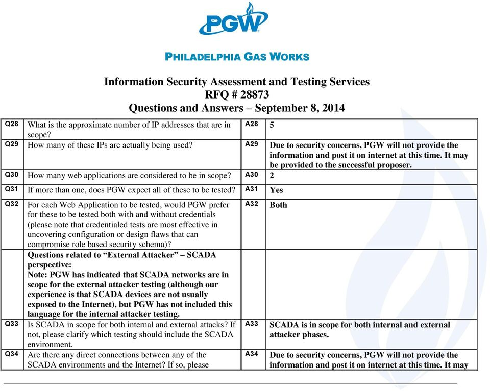 A31 Yes Q32 Q33 Q34 For each Web Application to be tested, would PGW prefer for these to be tested both with and without credentials (please note that credentialed tests are most effective in