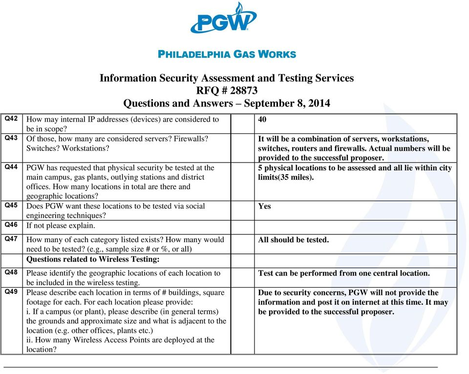 Does PGW want these locations to be tested via social engi