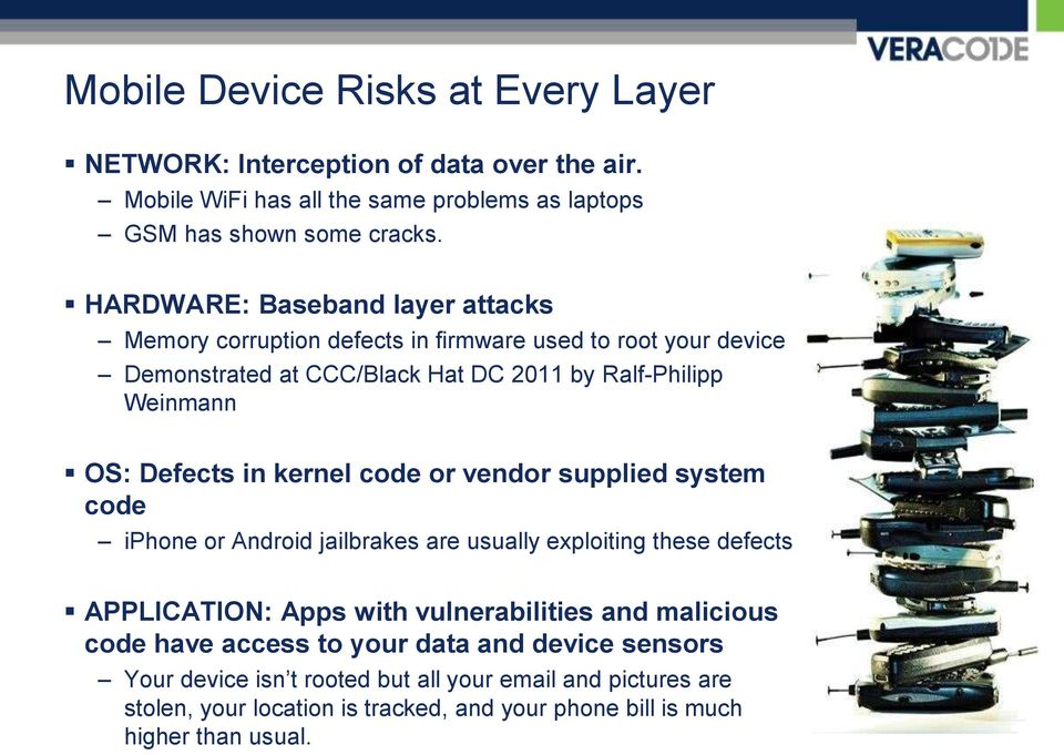 in kernel code or vendor supplied system code iphone or Android jailbrakes are usually exploiting these defects APPLICATION: Apps with vulnerabilities and malicious code