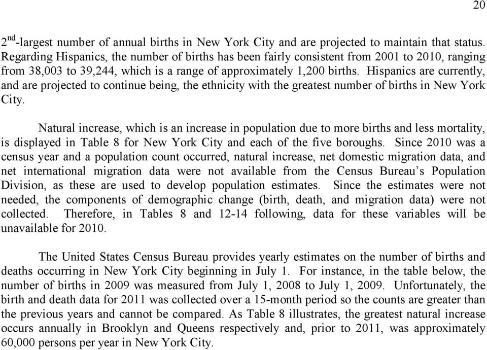 Hispanics are currently, and are projected to continue being, the ethnicity with the greatest number of births in New York City.