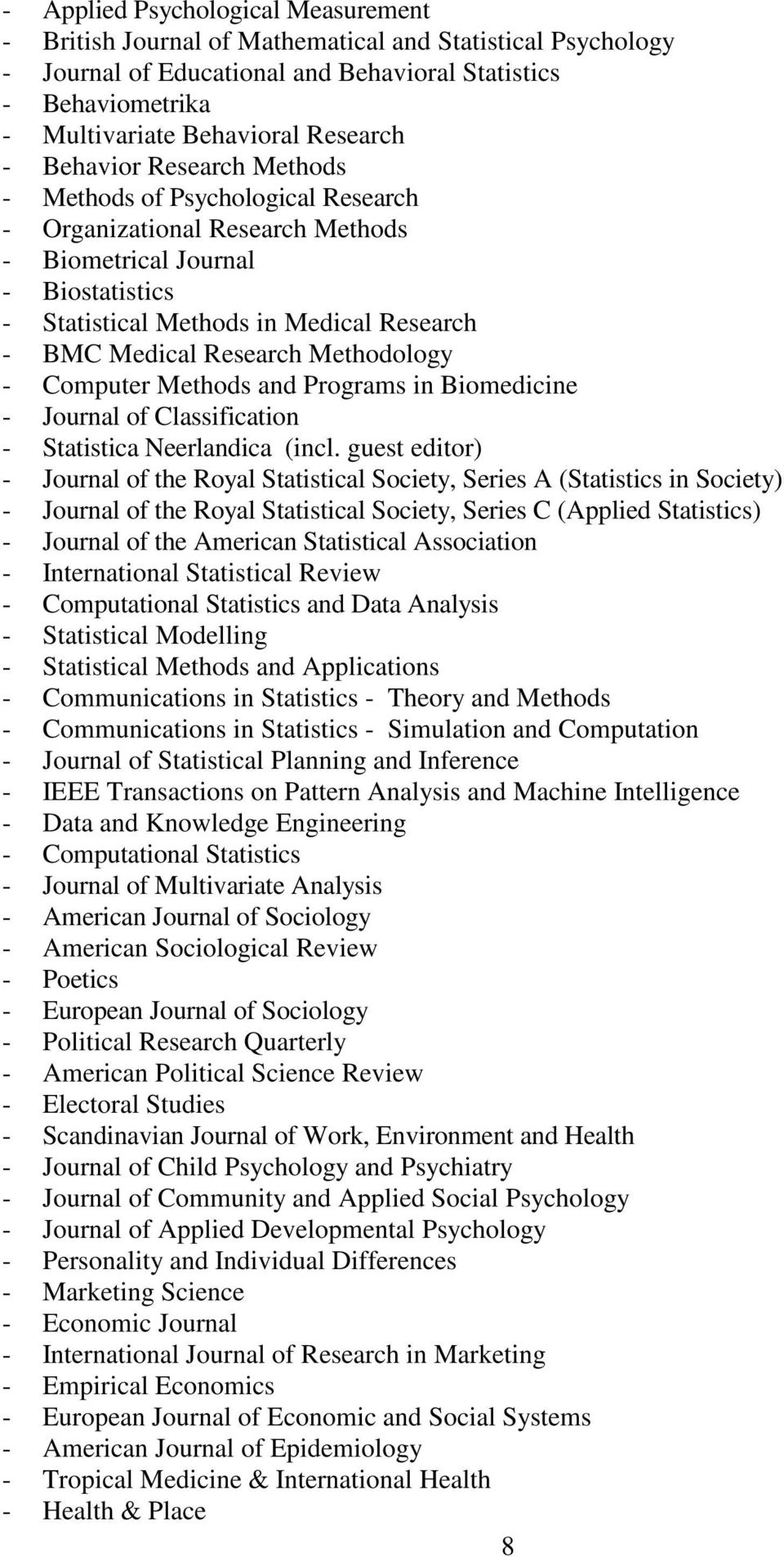 Research Methodology - Computer Methods and Programs in Biomedicine - Journal of Classification - Statistica Neerlandica (incl.