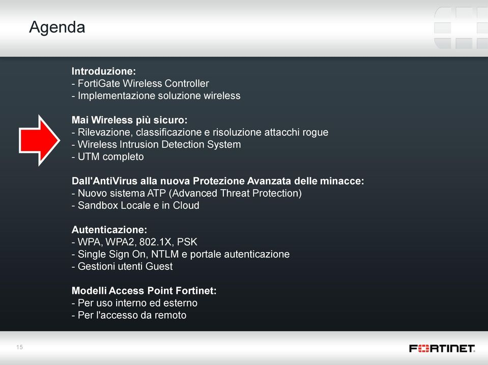 Avanzata delle minacce: - Nuovo sistema ATP (Advanced Threat Protection) - Sandbox Locale e in Cloud Autenticazione: - WPA, WPA2, 802.