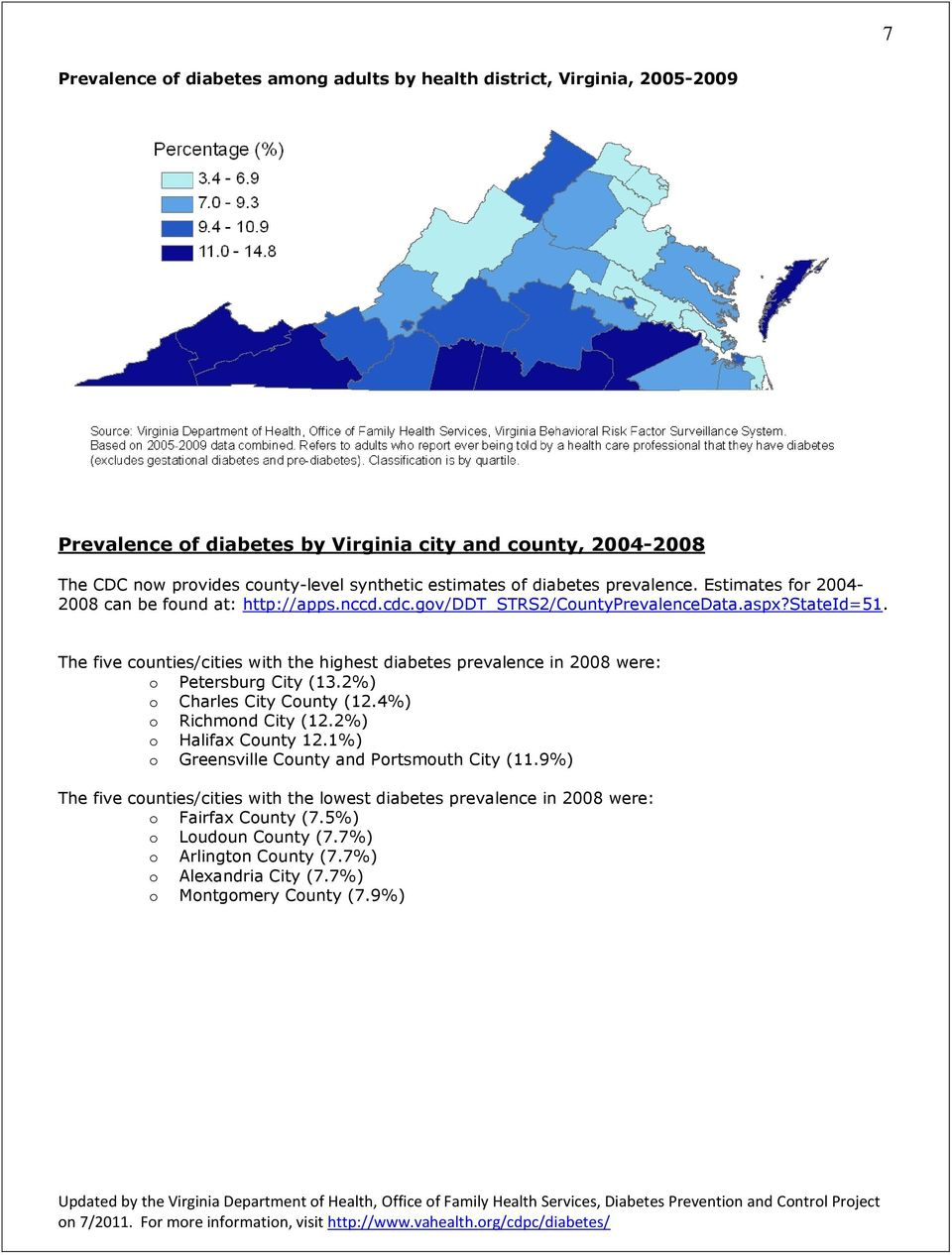 The five counties/cities with the highest diabetes prevalence in 2008 were: o Petersburg City (13.2%) o Charles City County (12.4%) o Richmond City (12.2%) o Halifax County 12.
