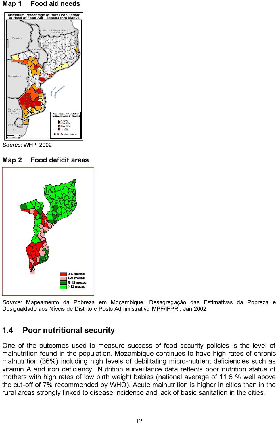 Posto Administrativo MPF/IFPRI. Jan 2002 1.4 Poor nutritional security One of the outcomes used to measure success of food security policies is the level of malnutrition found in the population.