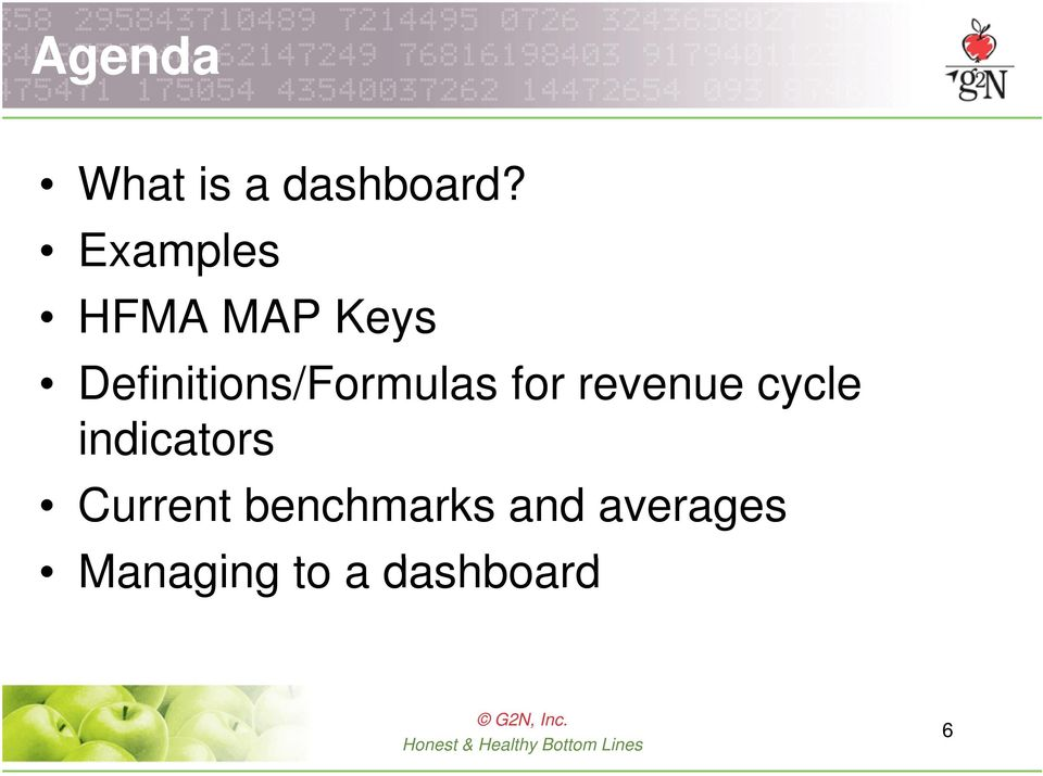 Definitions/Formulas for revenue cycle