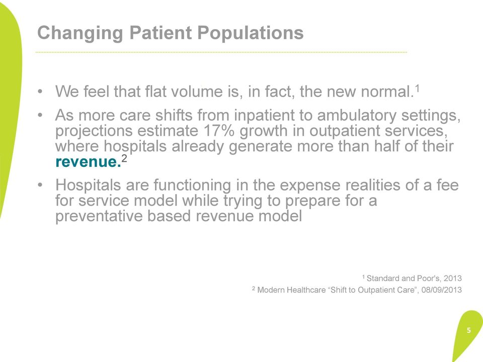 hospitals already generate more than half of their revenue.