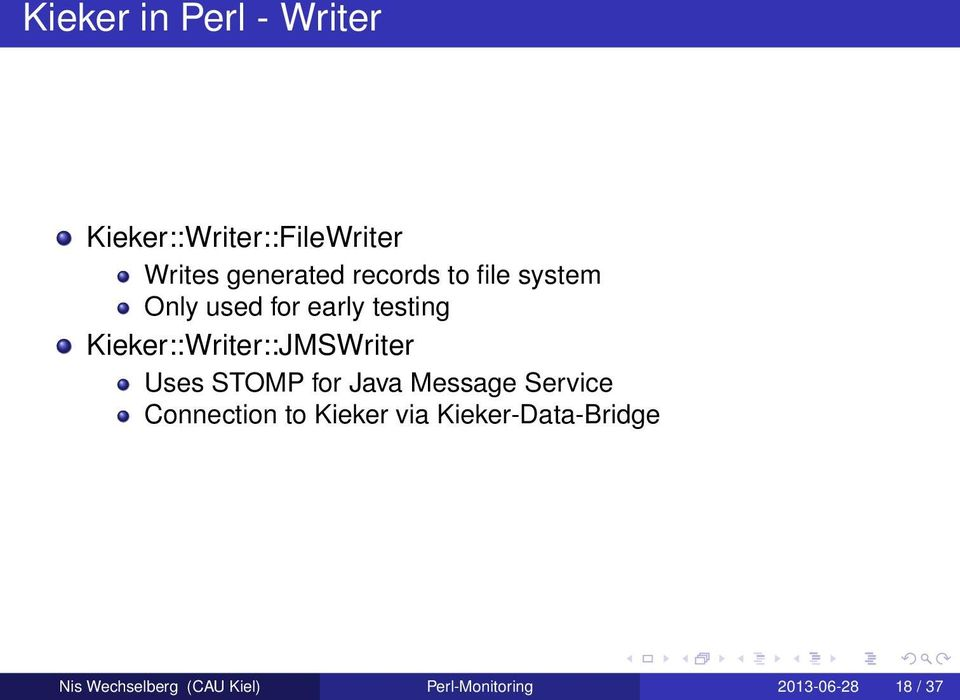 Kieker::Writer::JMSWriter Uses STOMP for Java Message Service