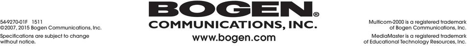 com Multicom-2000 is a registered trademark of Bogen