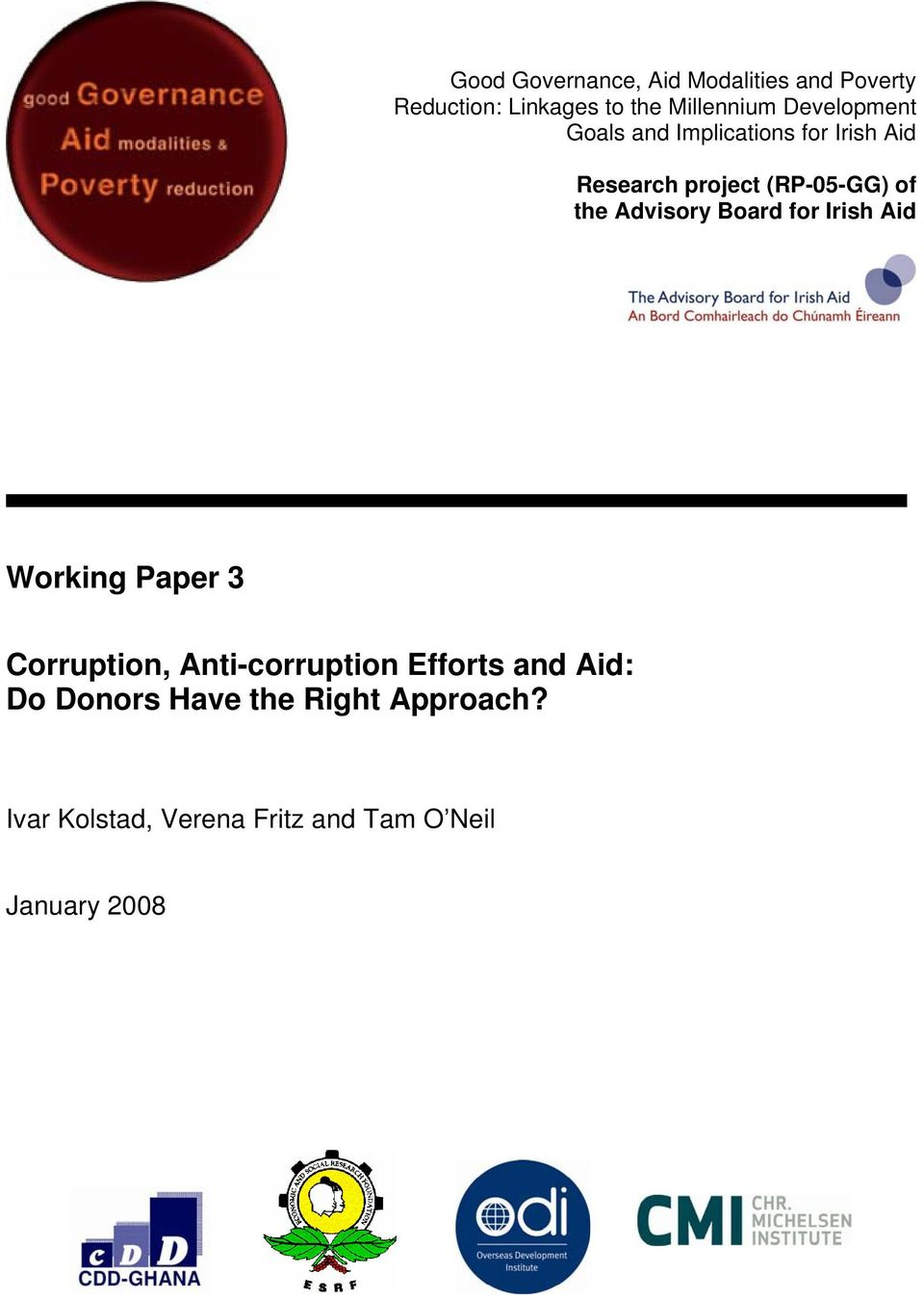Advisory Board for Irish Aid Working Paper 3 Corruption, Anti-corruption Efforts and