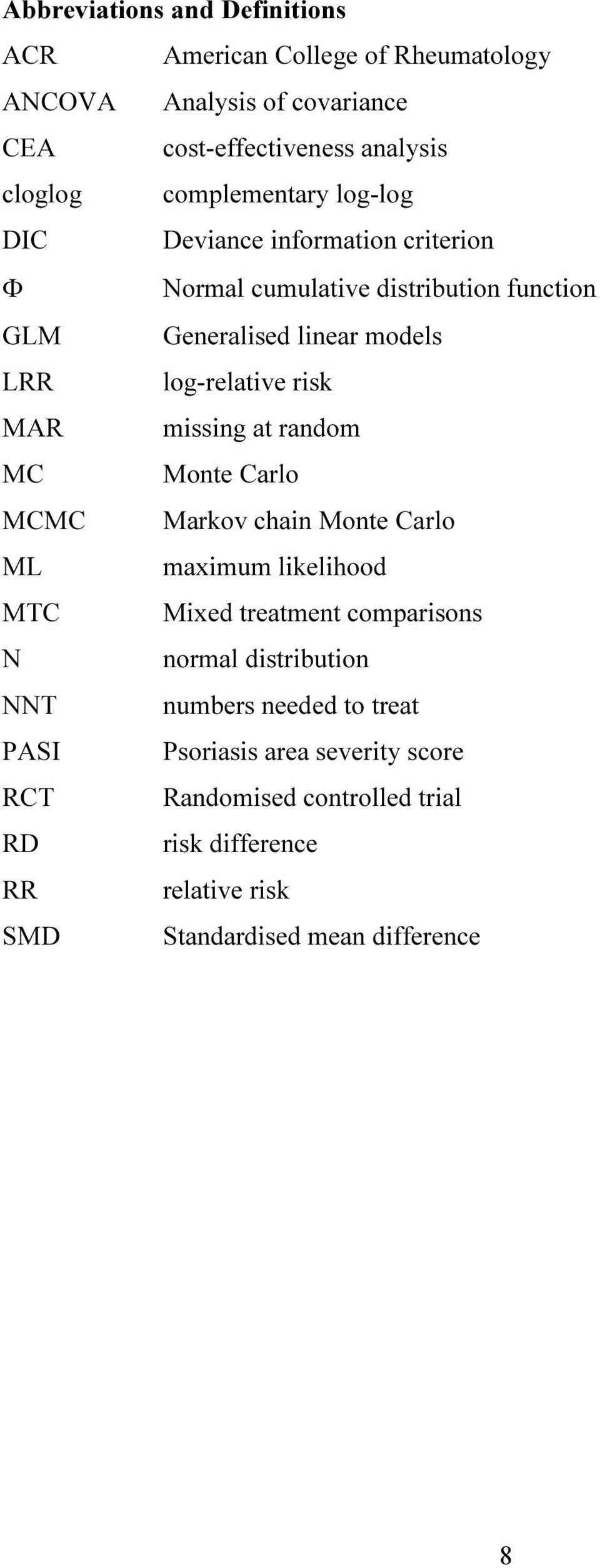 risk MAR missing at random MC Monte Carlo MCMC Markov chain Monte Carlo ML maximum likelihood MTC Mixed treatment comparisons N normal distribution