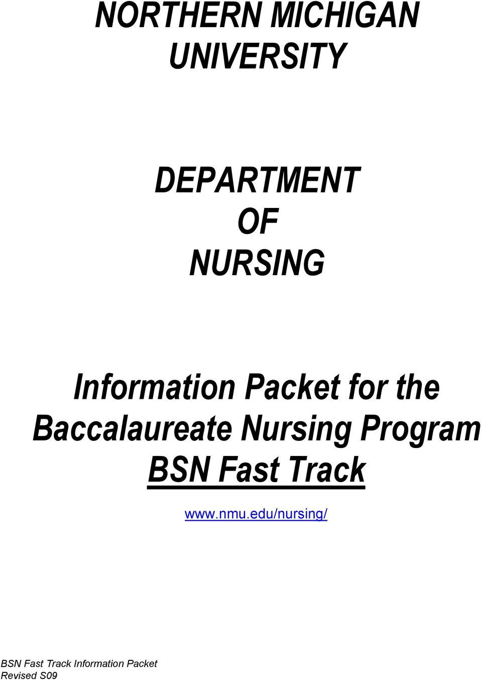 Packet for the Baccalaureate Nursing