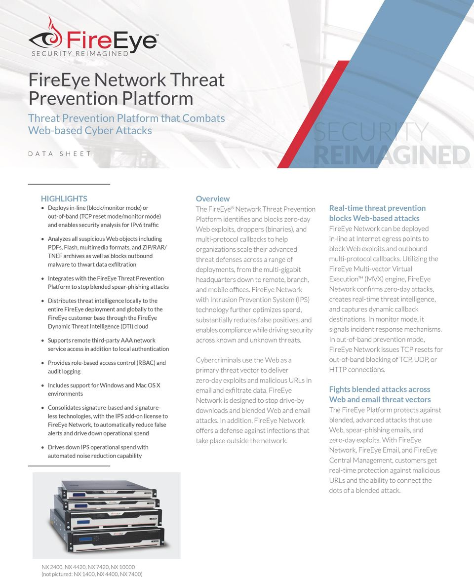 ZIP/RAR/ TNEF archives as well as blocks outbound malware to thwart data exfiltration Integrates the FireEye Threat Prevention Platform to stop blended spear-phishing attacks Distributes threat