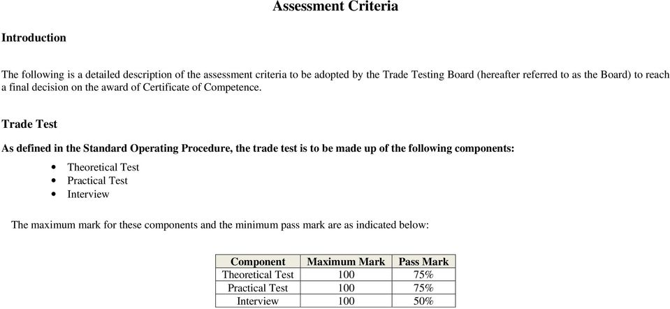 Trade Test As defined in the Standard Operating Procedure, the trade test is to be made up of the following components: Theoretical Test Practical