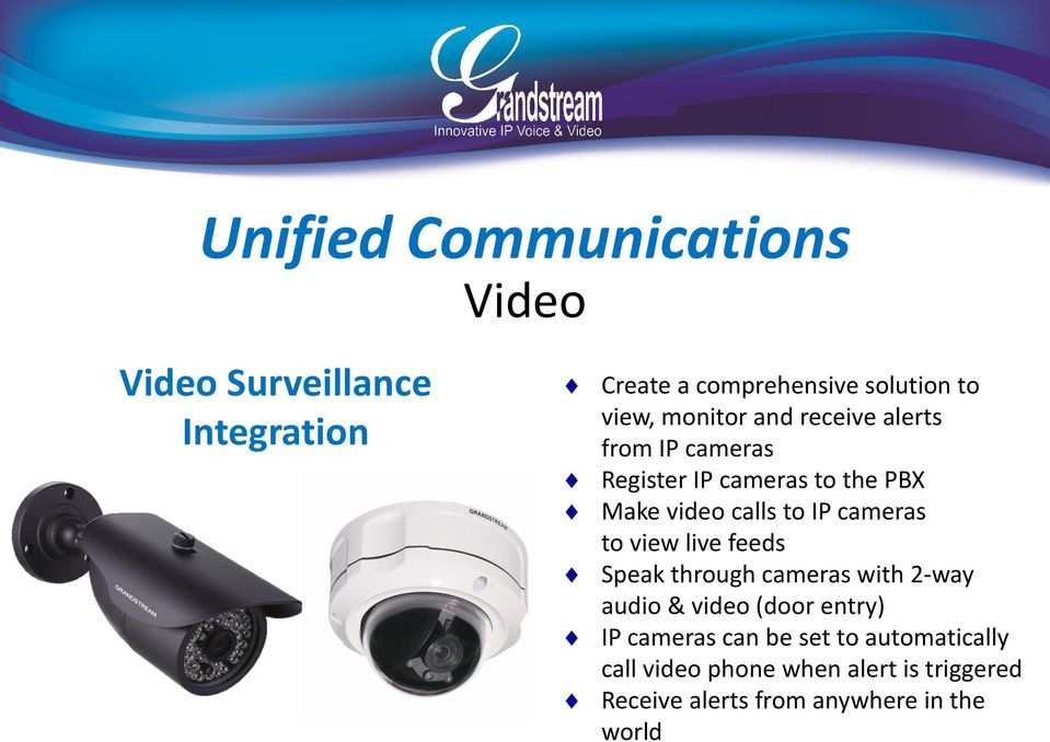 cameras to view live feeds Speak through cameras with 2-way audio & video (door entry) IP cameras can