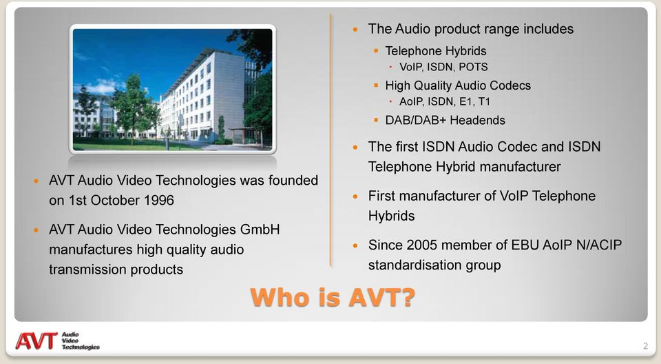 The Audio product range includes Telephone Hybrids VoIP, ISDN, POTS High Quality Audio Codecs AoIP, ISDN, E1, T1