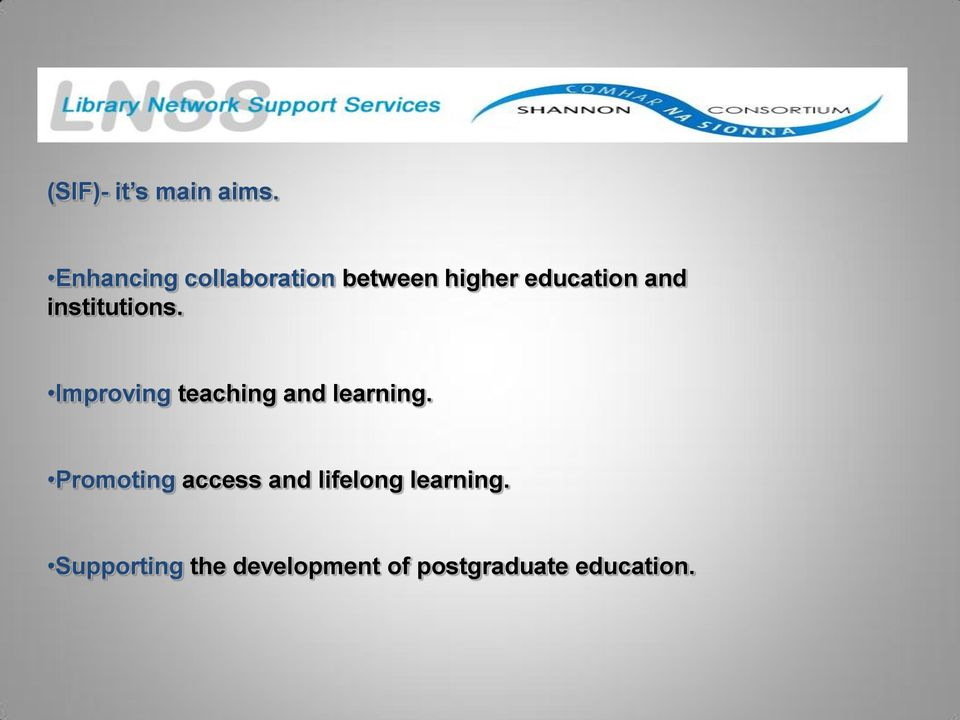 institutions. Improving teaching and learning.