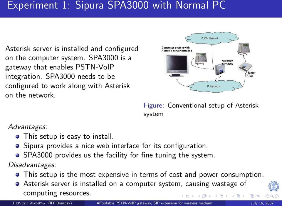 Figure: Conventional setup of Asterisk system Advantages: This setup is easy to install. Sipura provides a nice web interface for its configuration.
