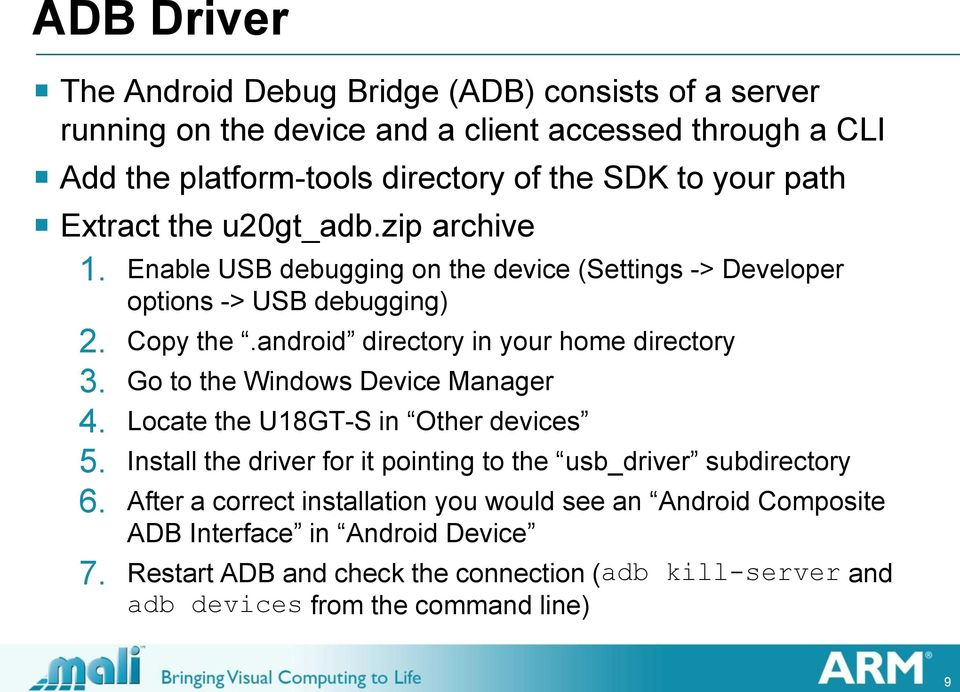 android directory in your home directory 3. Go to the Windows Device Manager 4. Locate the U18GT-S in Other devices 5.