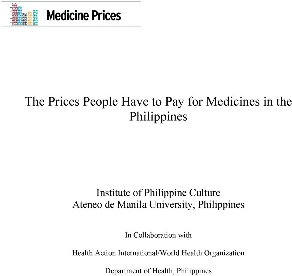 University, Philippines In Collaboration with Health Action
