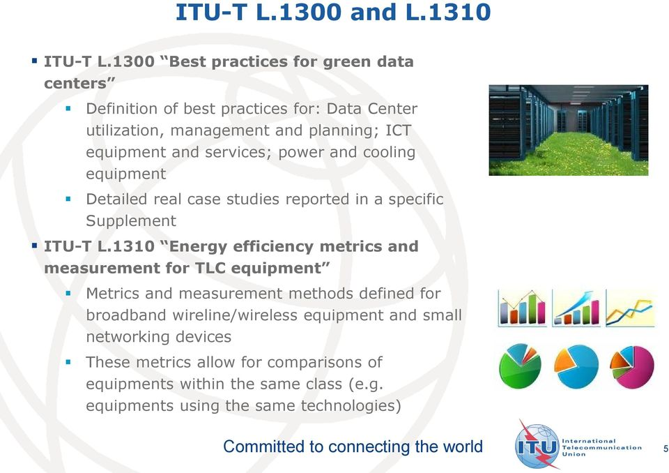 services; power and cooling equipment Detailed real case studies reported in a specific Supplement ITU-T L.