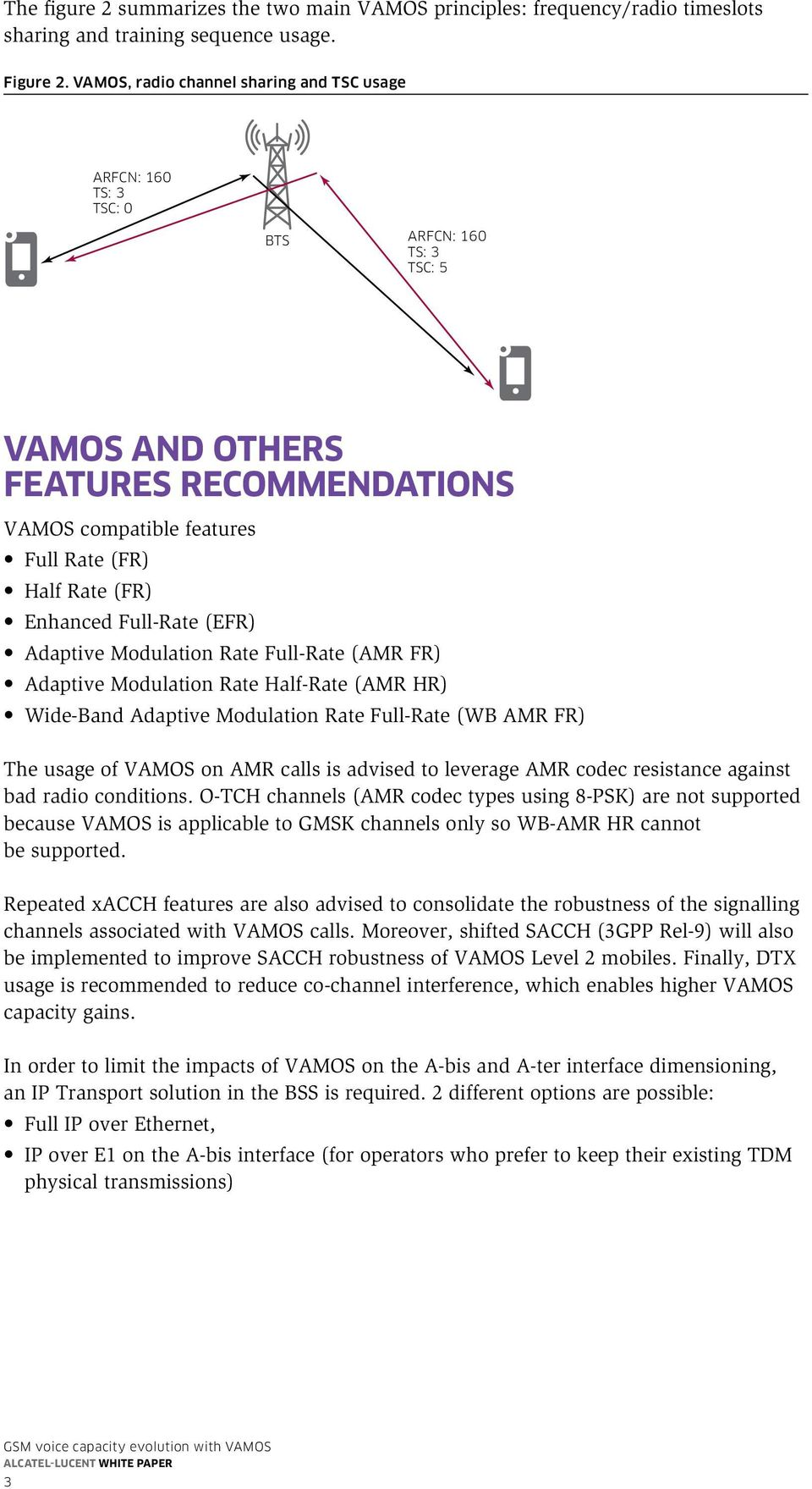 Enhanced Full-Rate (EFR) Adaptive Modulation Rate Full-Rate (AMR FR) Adaptive Modulation Rate Half-Rate (AMR HR) Wide-Band Adaptive Modulation Rate Full-Rate (WB AMR FR) The usage of VAMOS on AMR