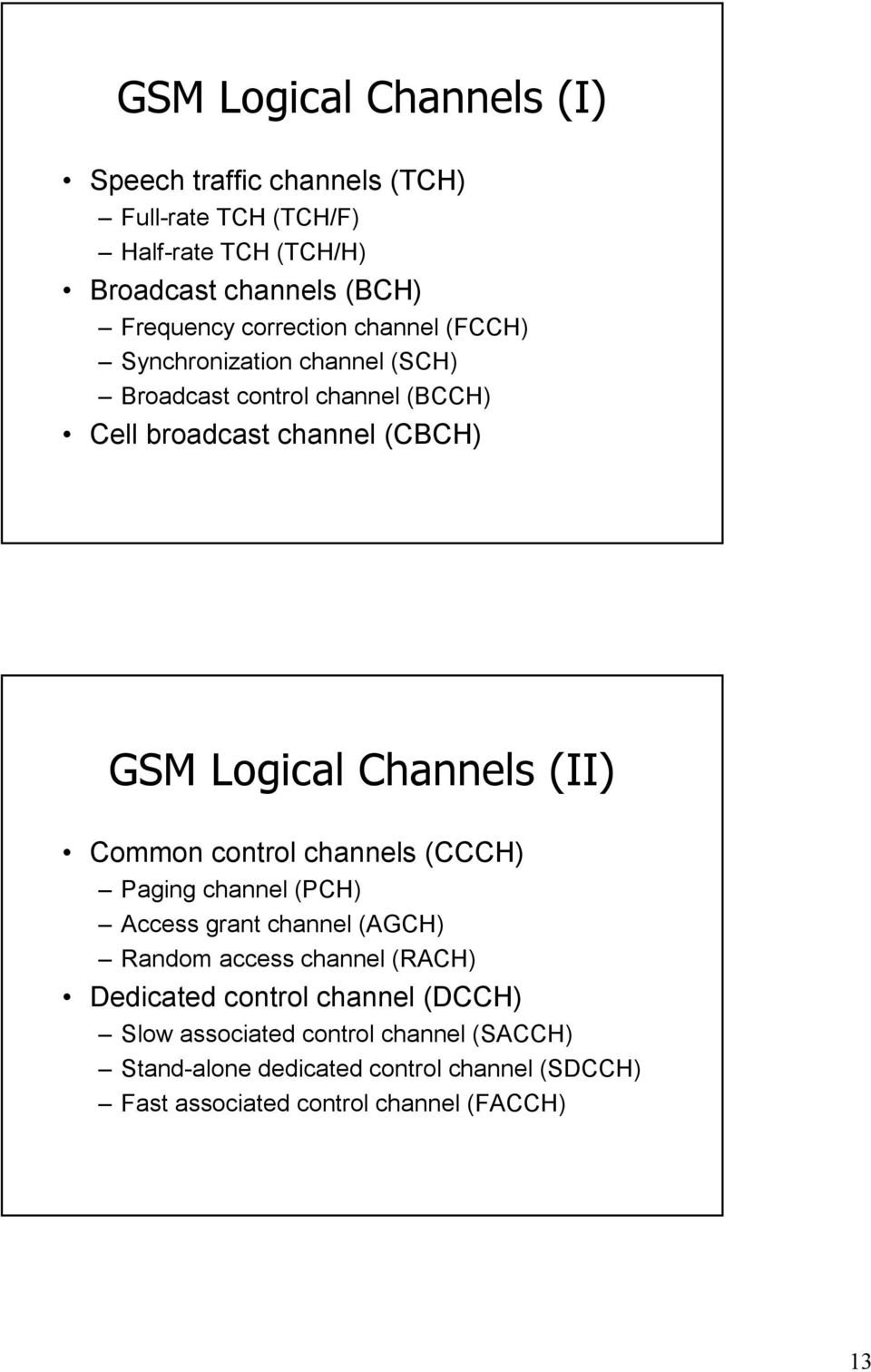 Channels (II) Common control channels (CCCH) Paging channel (PCH) Access grant channel (AGCH) Random access channel (RACH) Dedicated