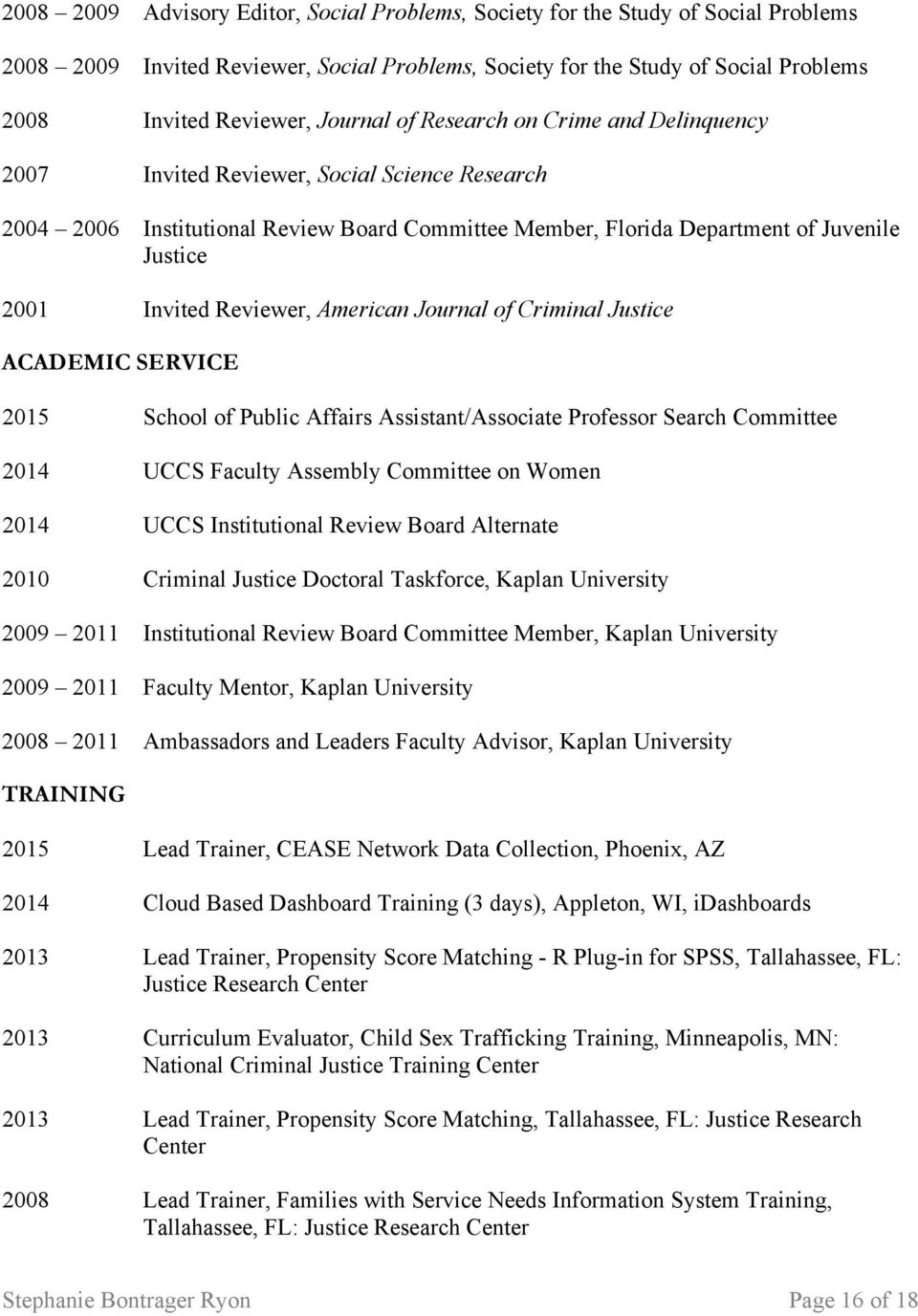 Reviewer, American Journal of Criminal Justice ACADEMIC SERVICE 2015 School of Public Affairs Assistant/Associate Professor Search Committee 2014 UCCS Faculty Assembly Committee on Women 2014 UCCS