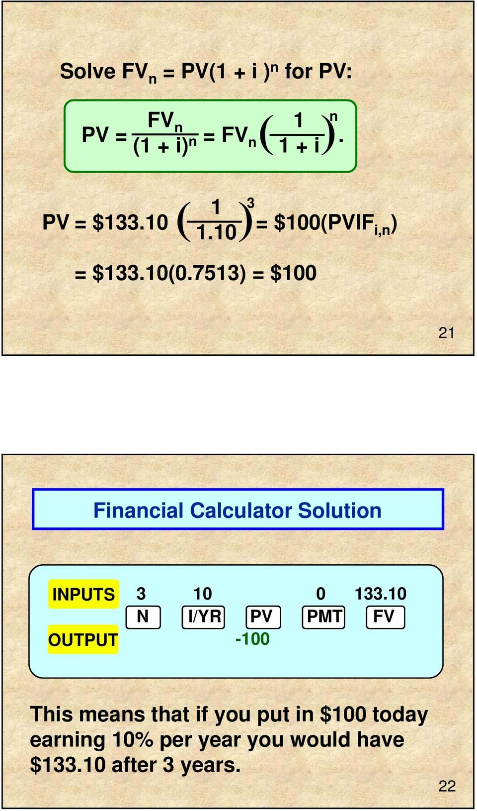 7513) = $100 21 Financial Calculator Solution INPUTS OUTPUT 3 10 0 133.