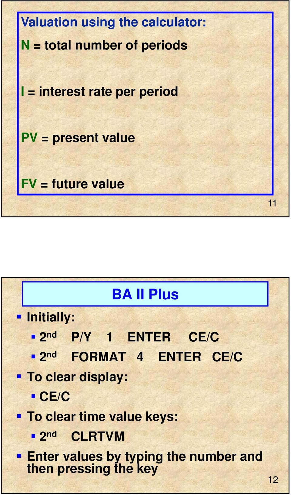 P/Y 1 ENTER CE/C 2 nd FORMAT 4 ENTER CE/C To clear display: CE/C To clear time