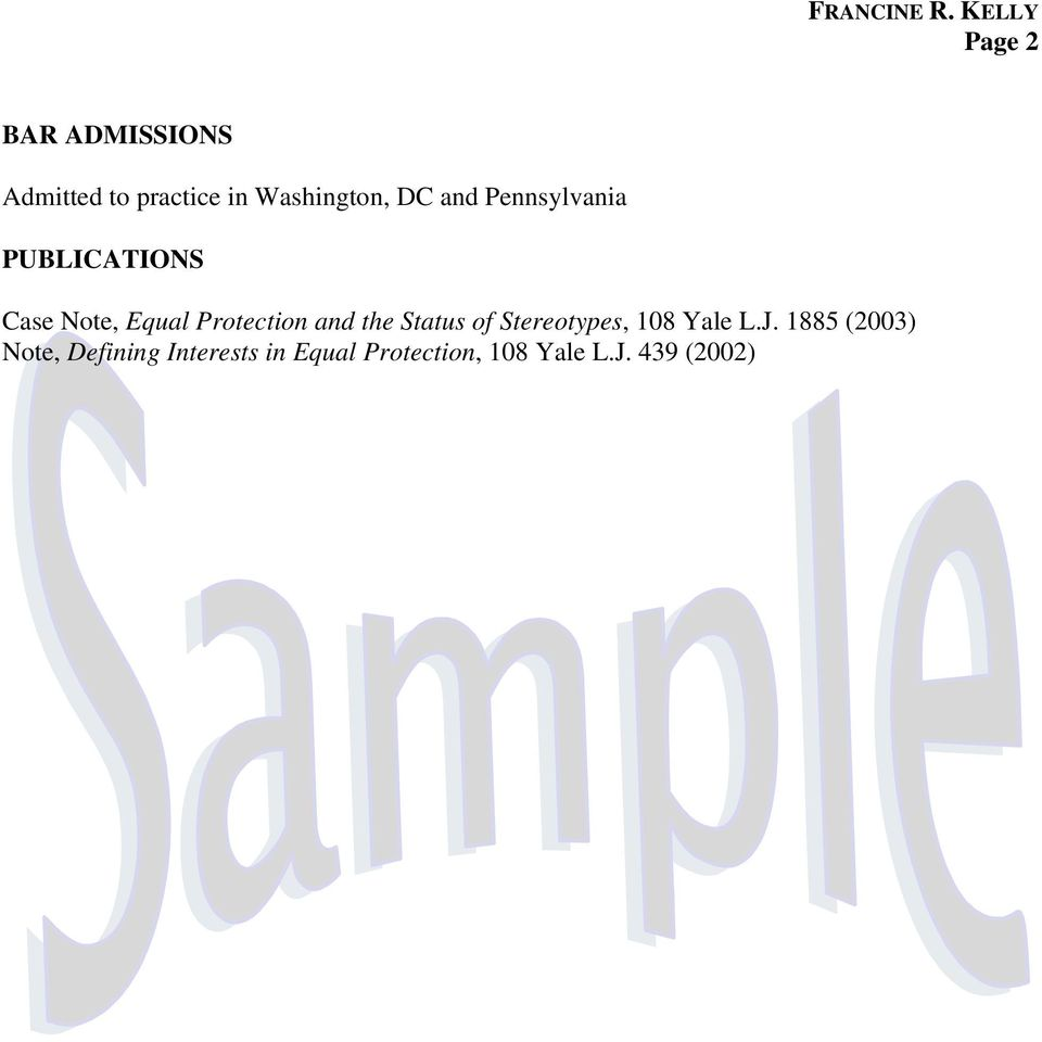 DC and Pennsylvania PUBLICATIONS Case Note, Equal Protection and