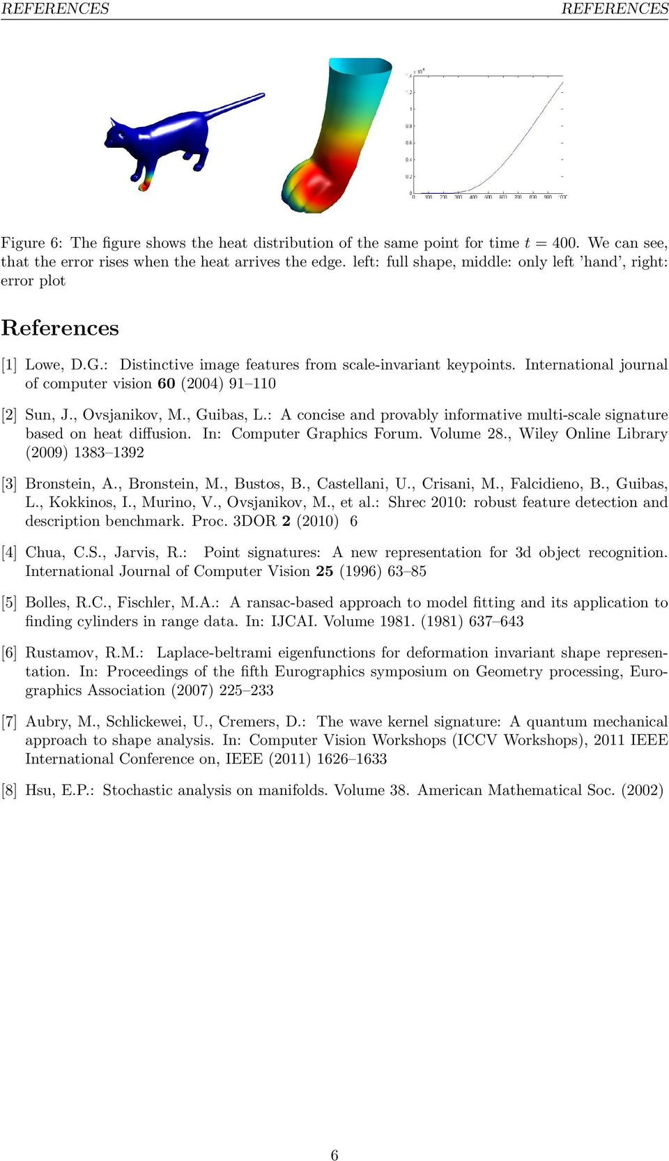 International journal of computer vision 60 (2004) 9 0 [2] Sun, J., Ovsjanikov,., Guibas, L.: A concise and provably informative multi-scale signature based on heat diffusion.