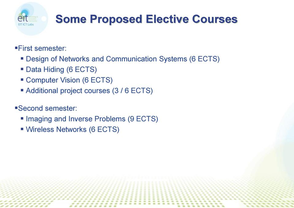 Vision (6 ECTS) Additional project courses (3 / 6 ECTS) Second