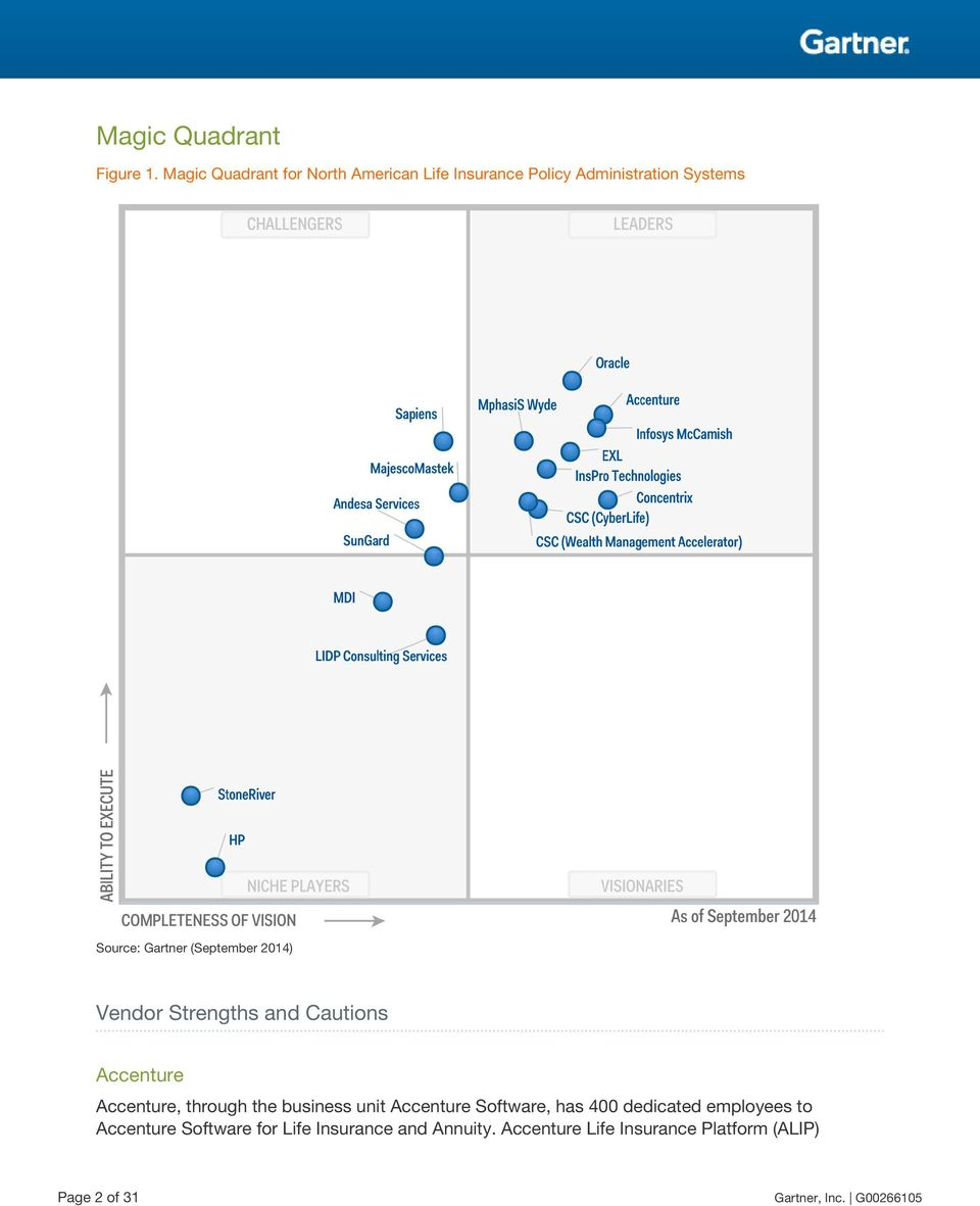 (September 2014) Vendor Strengths and Accenture Accenture, through the business unit Accenture