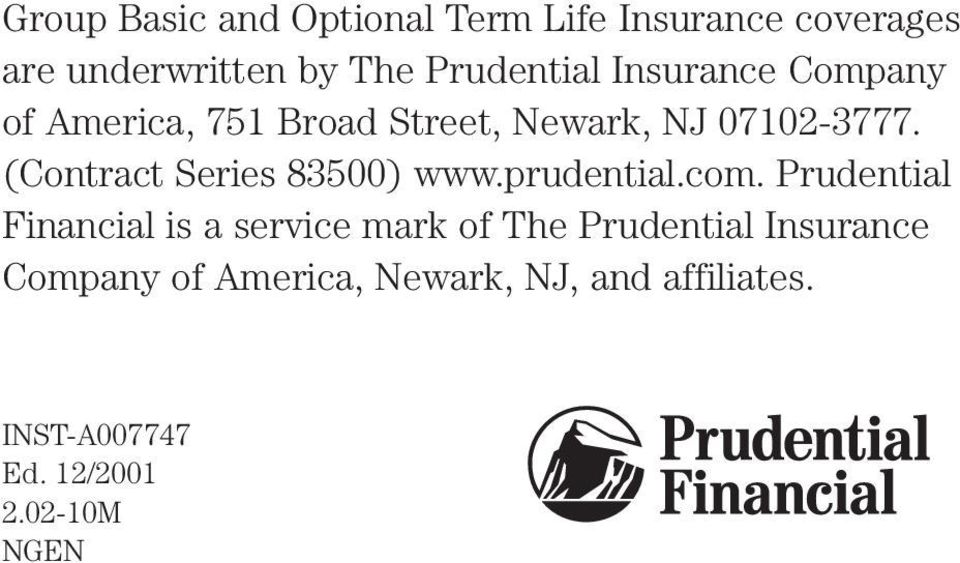 (Contract Series 83500) www.prudential.com.