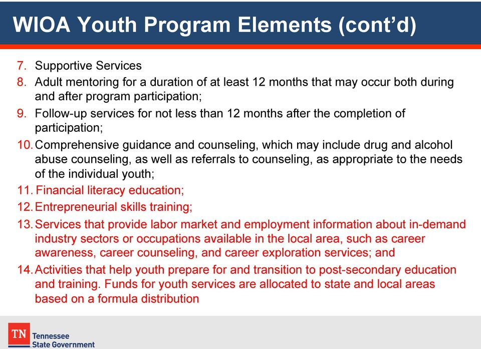 Comprehensive guidance and counseling, which may include drug and alcohol abuse counseling, as well as referrals to counseling, as appropriate to the needs of the individual youth; 11.