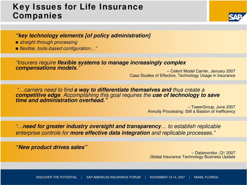 Celent Model Carrier, January 2007 Case Studies of Effective, Technology Usage in Insurance carriers need to find a way to differentiate themselves and thus create a competitive edge.