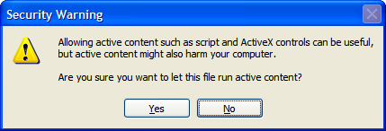 Chapter 4 Troubleshooting I get a warning about active content in Internet Explorer When opening documentation pages from the Setup CD, a warning might be displayed.