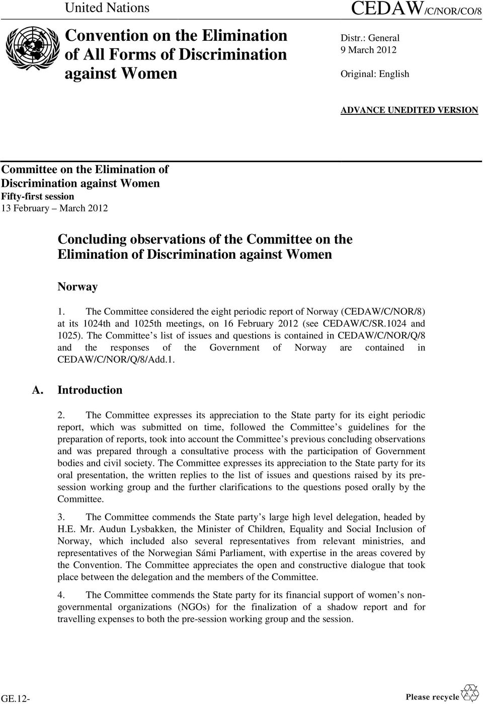 the Committee on the Elimination of Discrimination against Women Norway 1.