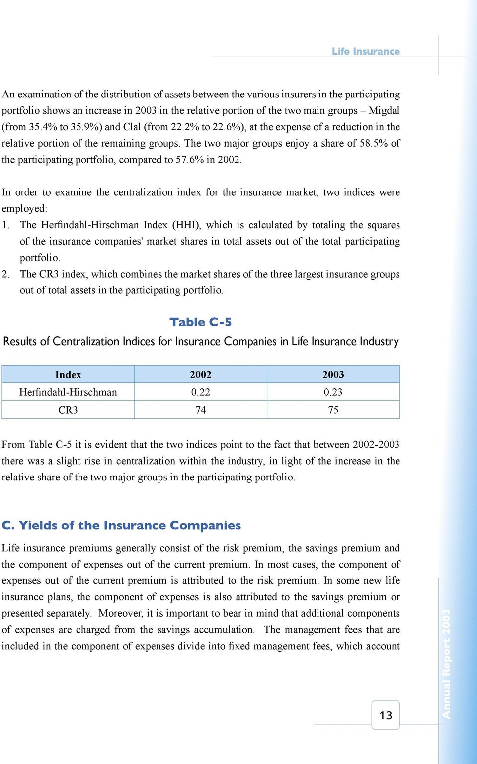5% of the participating portfolio, compared to 57.6% in 2002. In order to examine the centralization index for the insurance market, two indices were employed: 1.