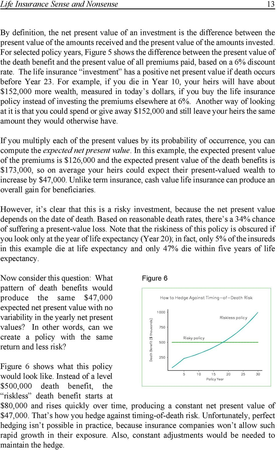 The life insurance investment has a positive net present value if death occurs before Year 23.