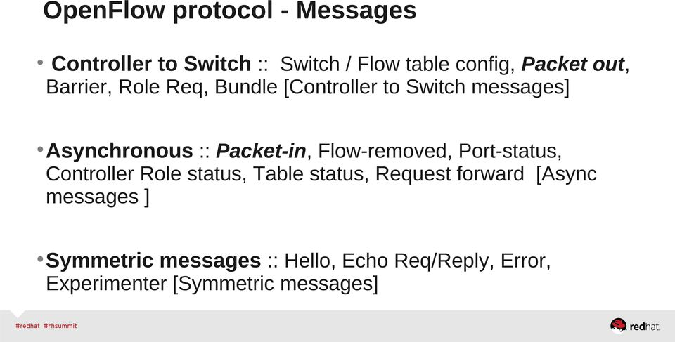 Flow-removed, Port-status, Controller Role status, Table status, Request forward [Async