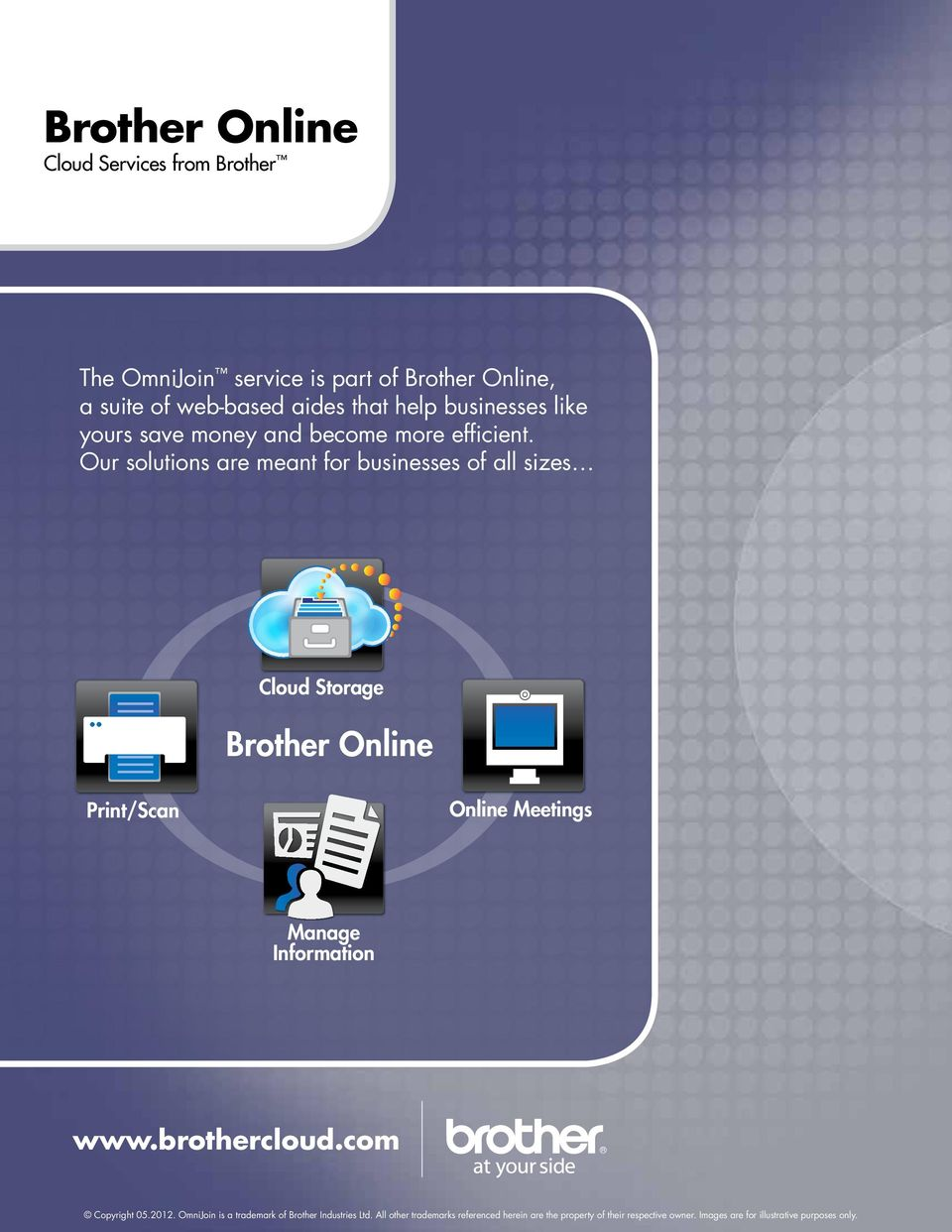 Our solutions are meant for businesses of all sizes Cloud Storage Brother Online Print/Scan Online Meetings Manage Information www.