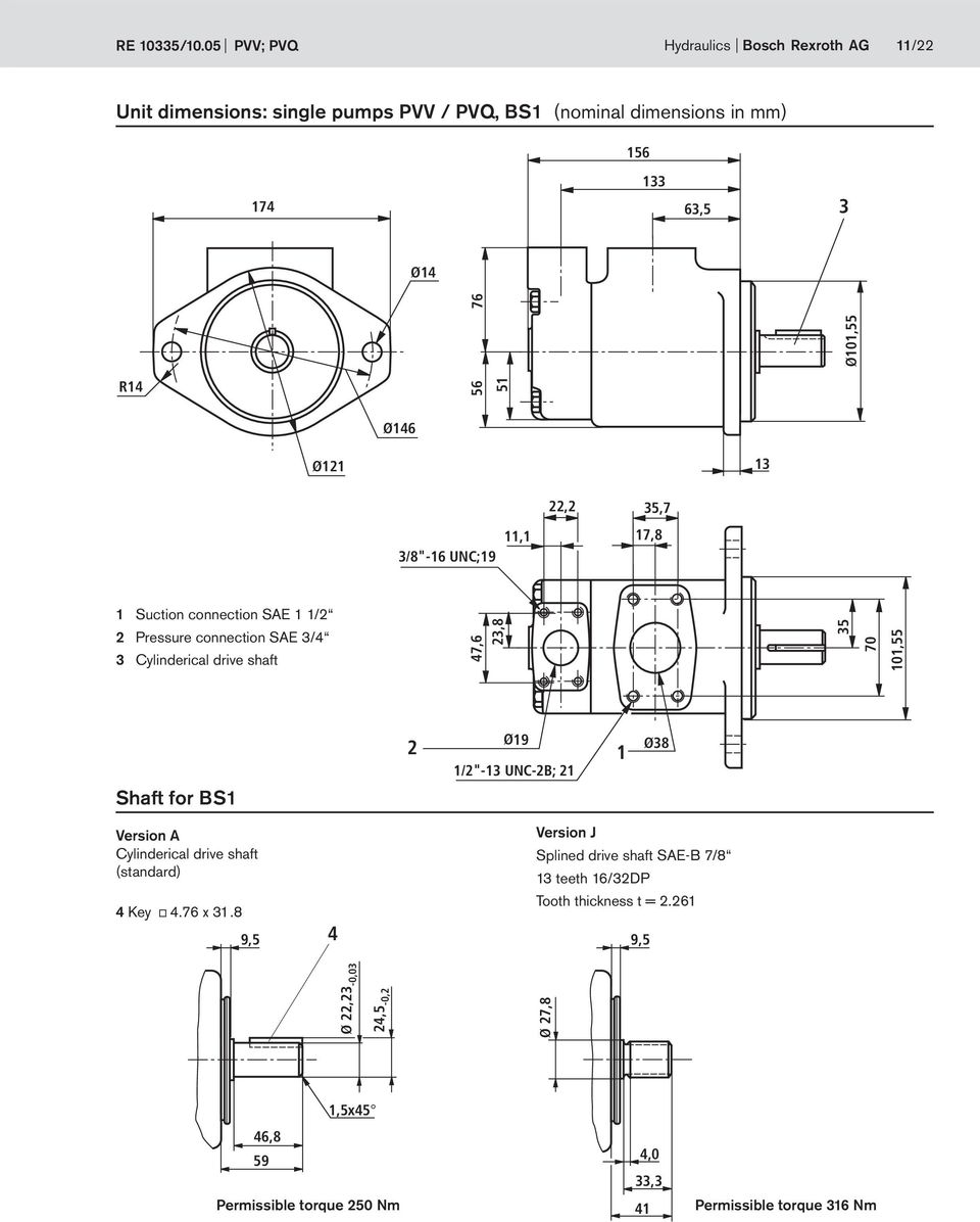 "76 Ø146 Ø121 13 3/8""-16 UNC;19 22,2 35,7 11,1 17,8 1 Suction connection SAE 1 1/2 2 Pressure connection SAE 3/4 3 Cylinderical drive shaft 47,6 23,8 35 7"