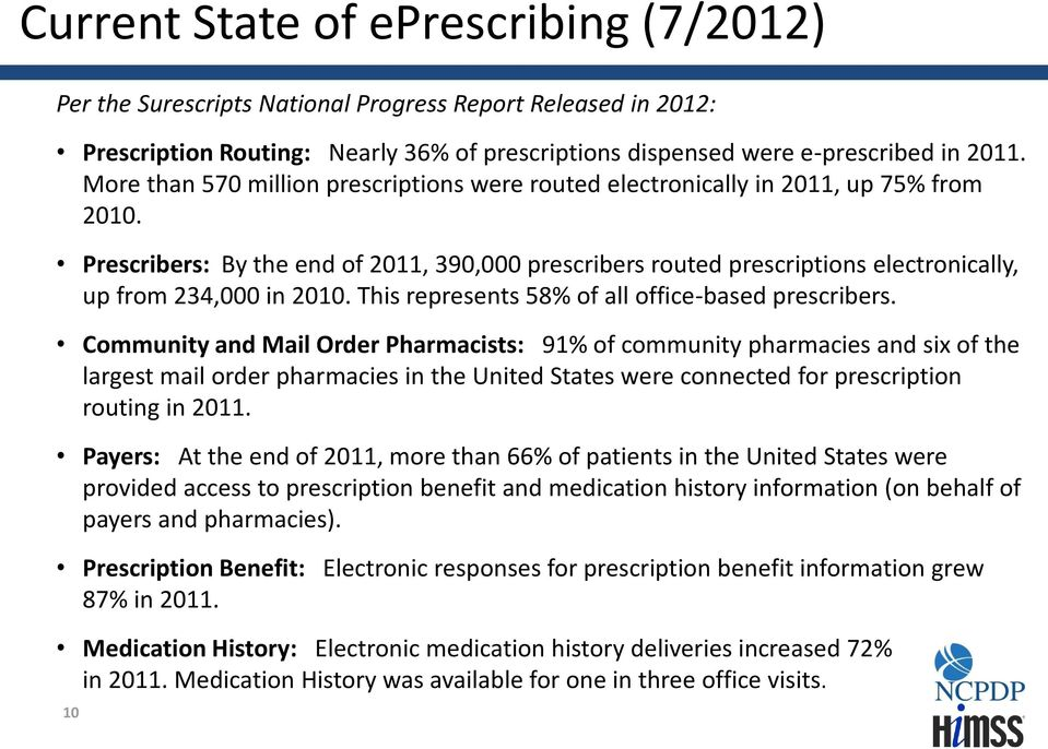 Prescribers: By the end of 2011, 390,000 prescribers routed prescriptions electronically, up from 234,000 in 2010. This represents 58% of all office-based prescribers.