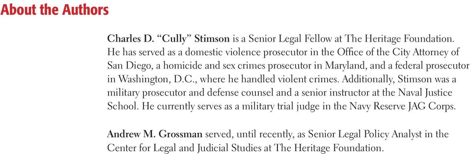 prosecutor in Washington, D.C., where he handled violent crimes.